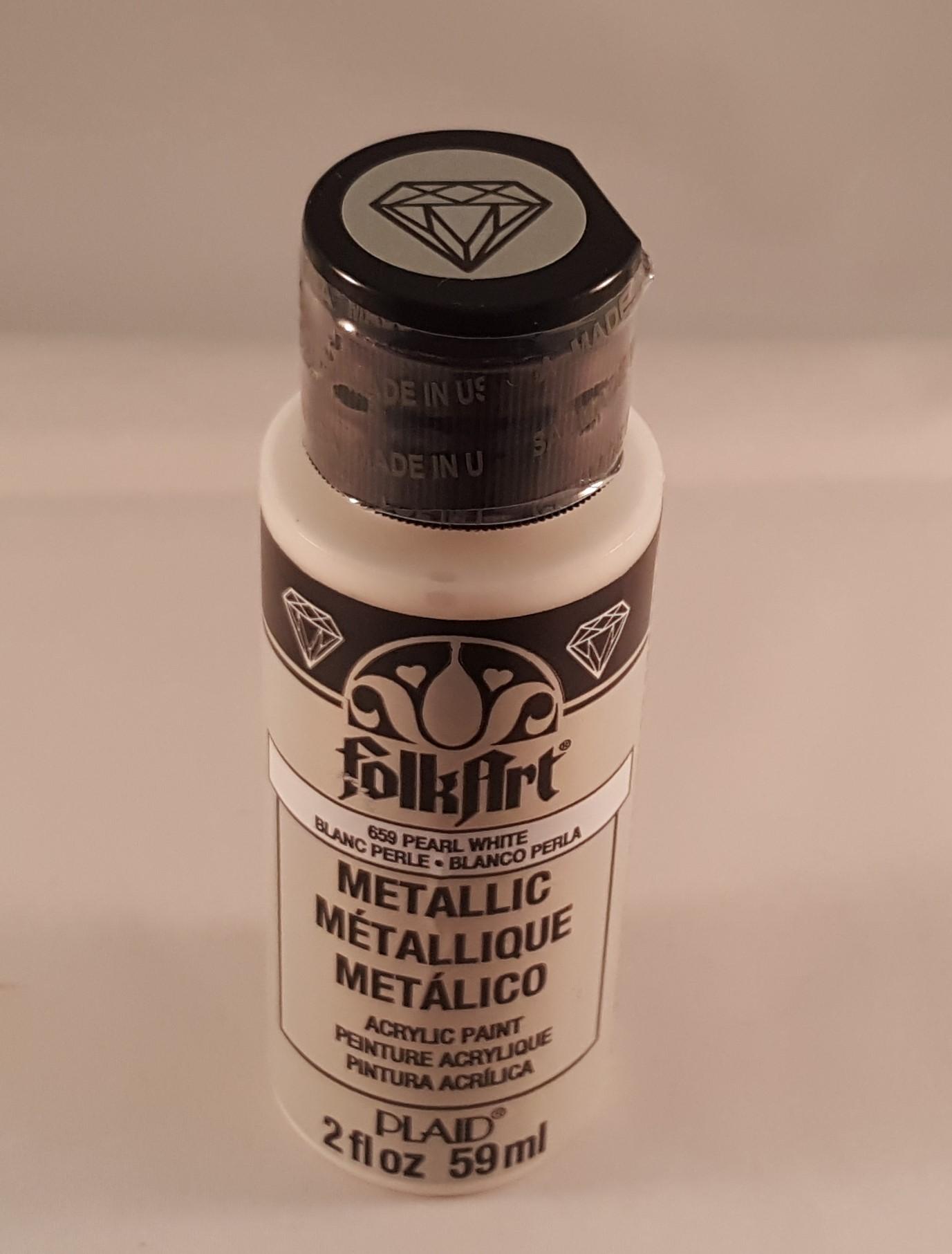 Tinta Acrílica Folkart metalizada branco pérola