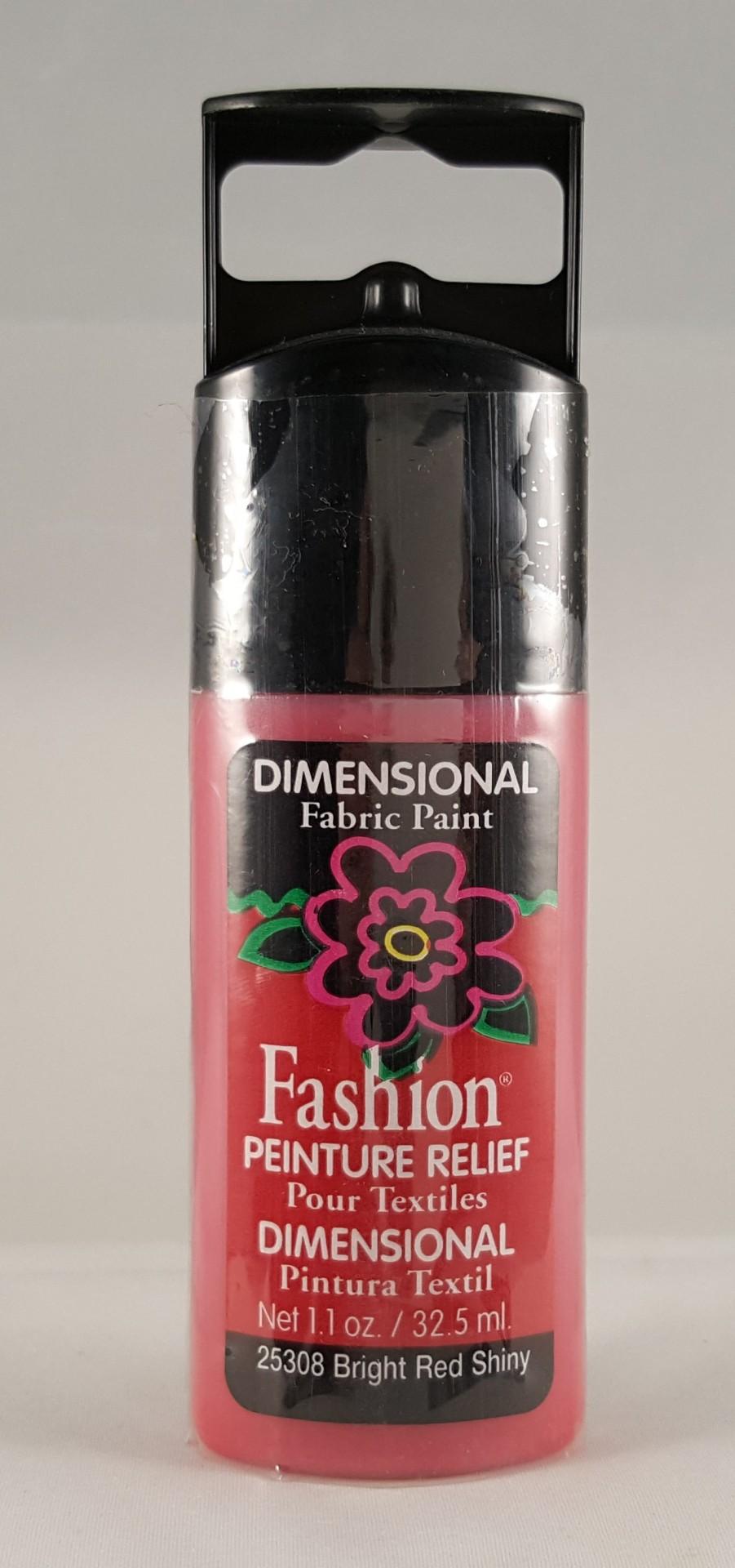 Tinta Dimensional para Tecido Fashion bright red shiny