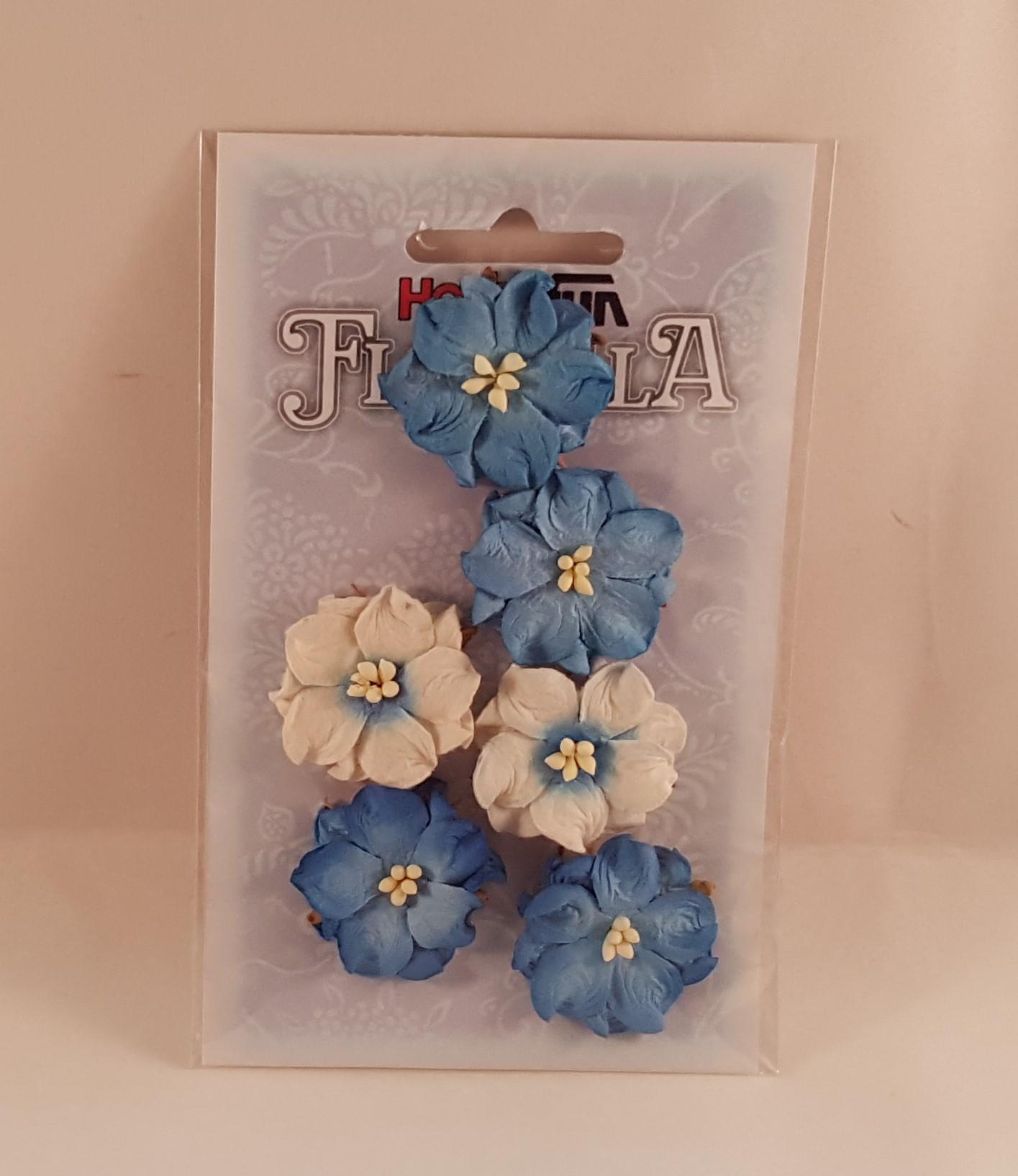 Flores de Papel azuis e brancas para scrapbooking