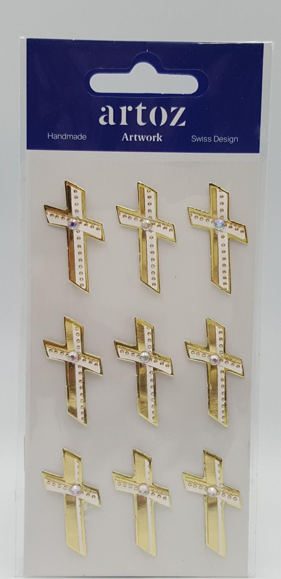 Aplicações scrapbooking - cruzes douradas