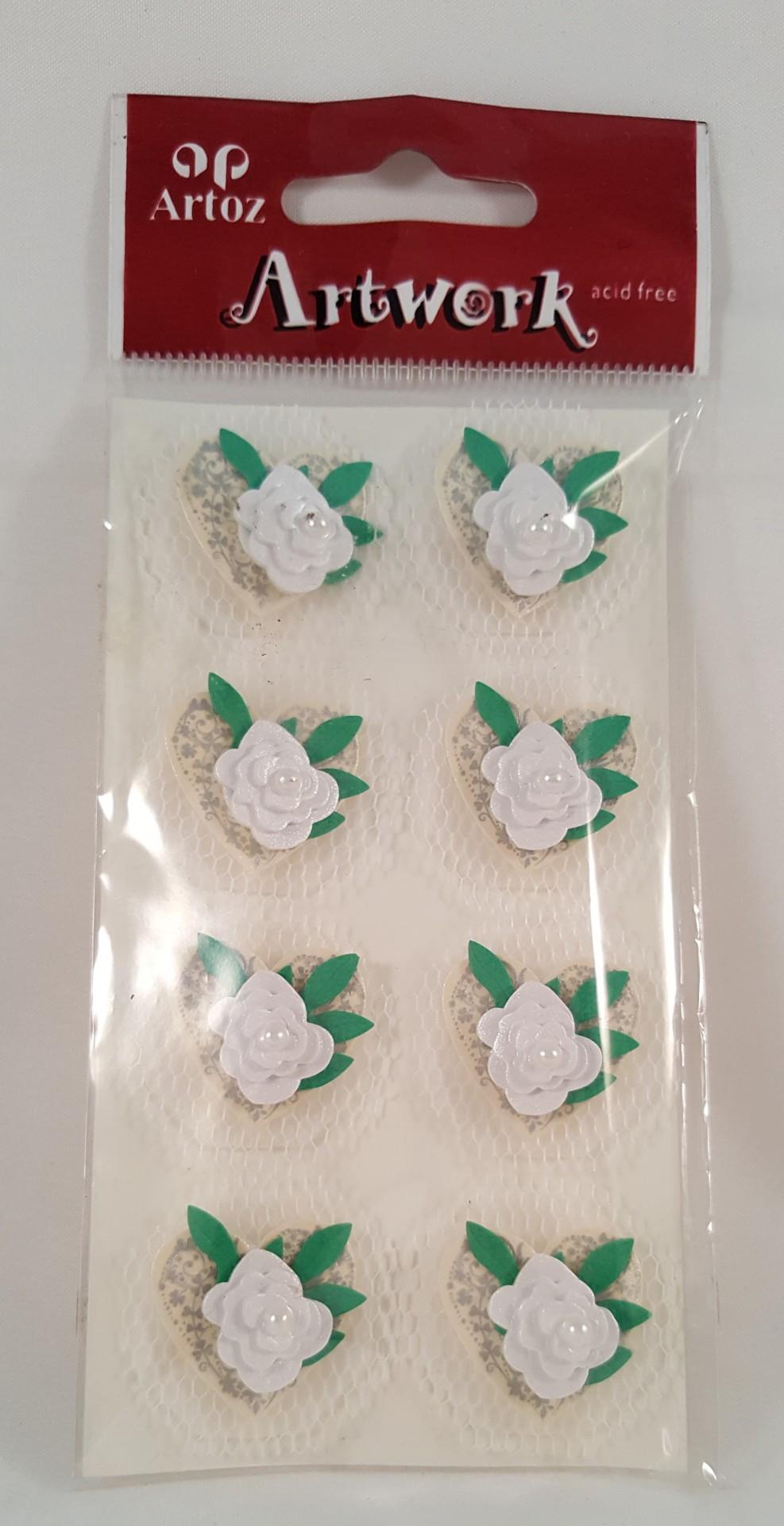 Aplicações scrapbooking - flores brancas /tule Artoz Artwork