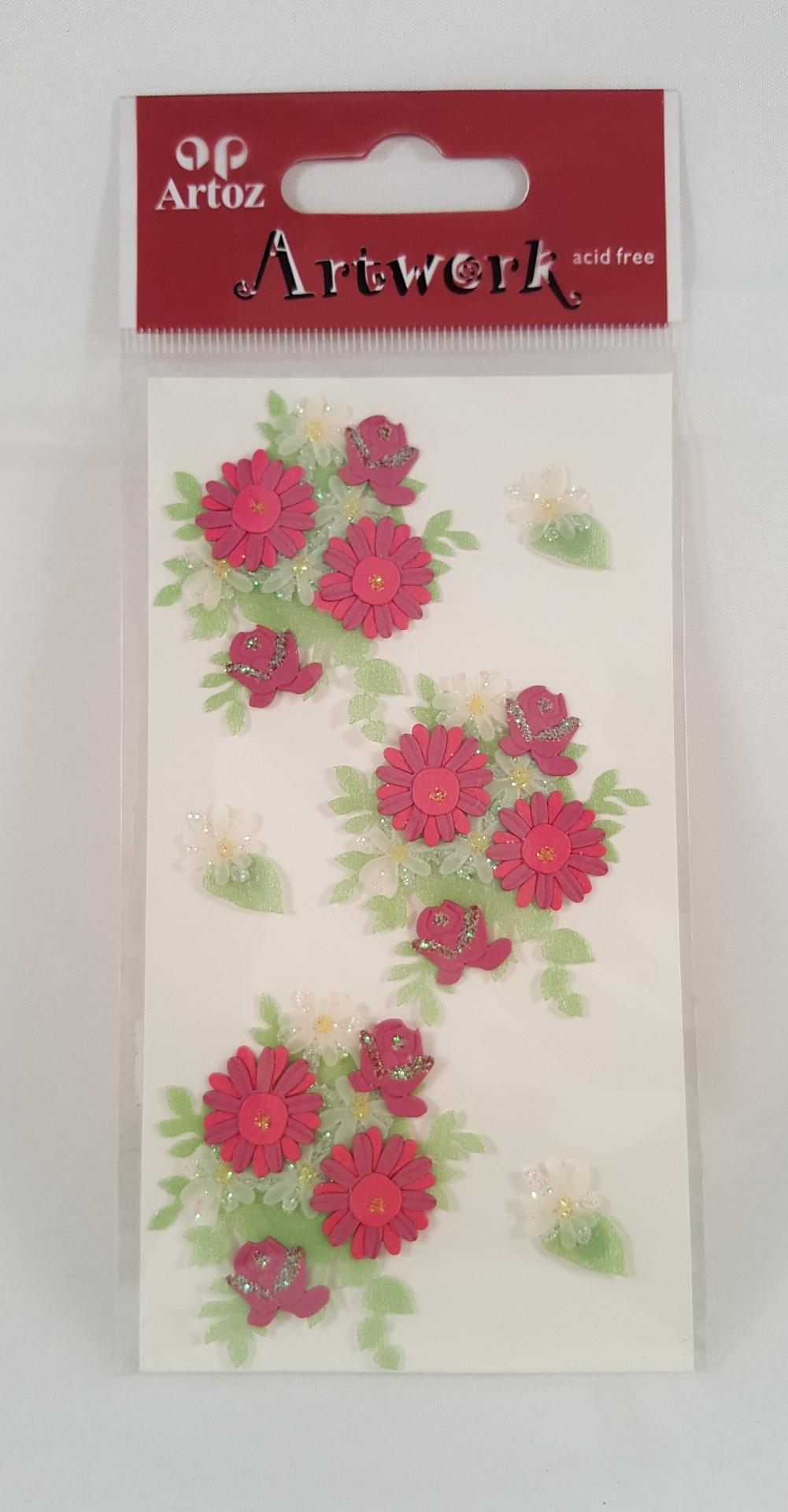 Aplicações scrapbooking - flores vermelhas Artoz Artwork