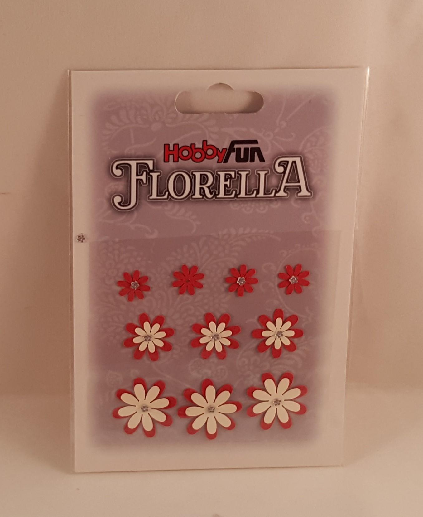 Flores de papel brancas e vermelhas para scrapbooking