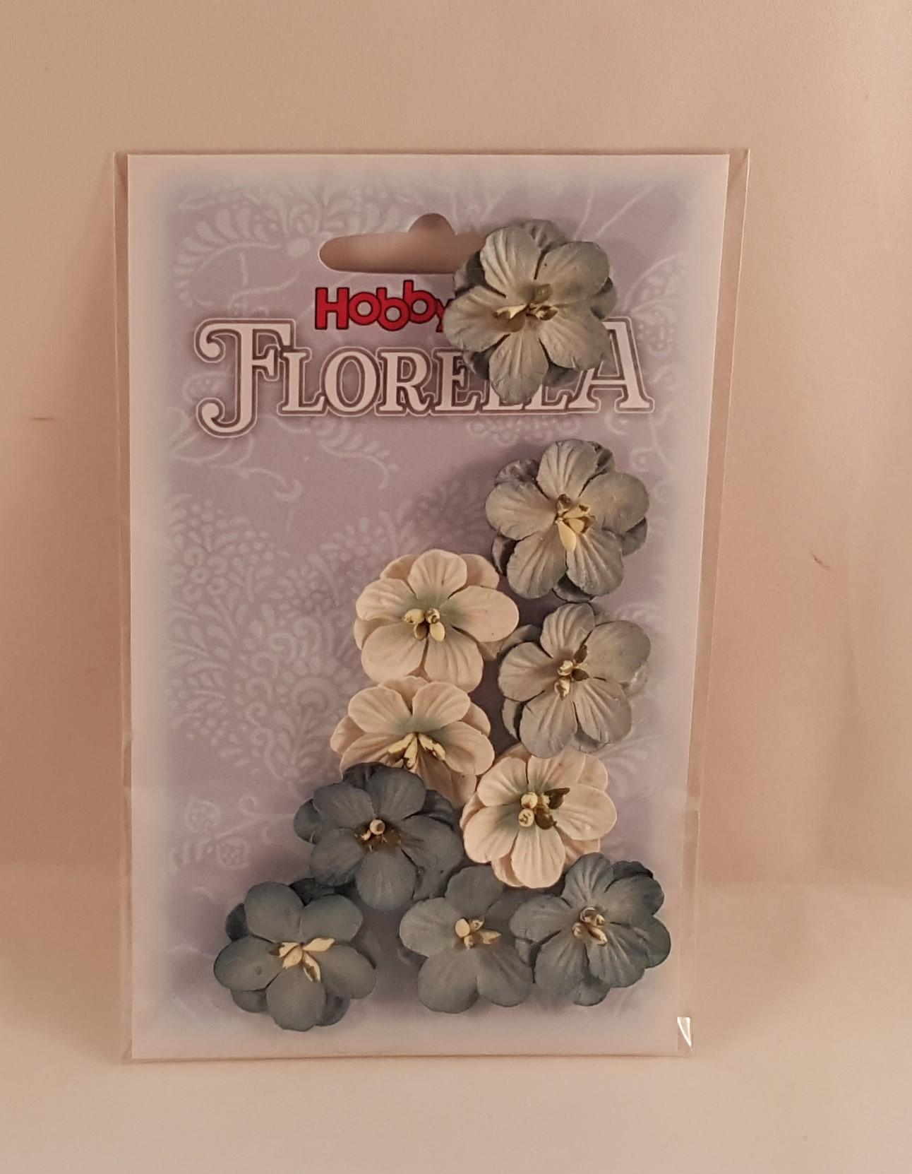 Flores de papel azul cinza e branca para scrapbooking