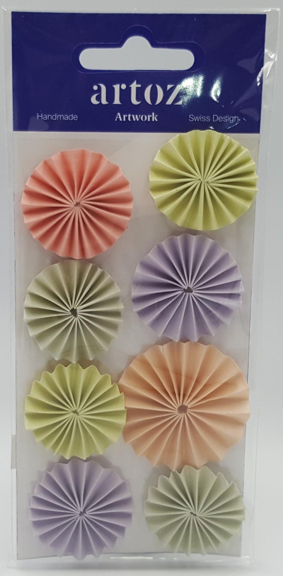 Aplicações scrapbooking - rodas plissadas coloridas