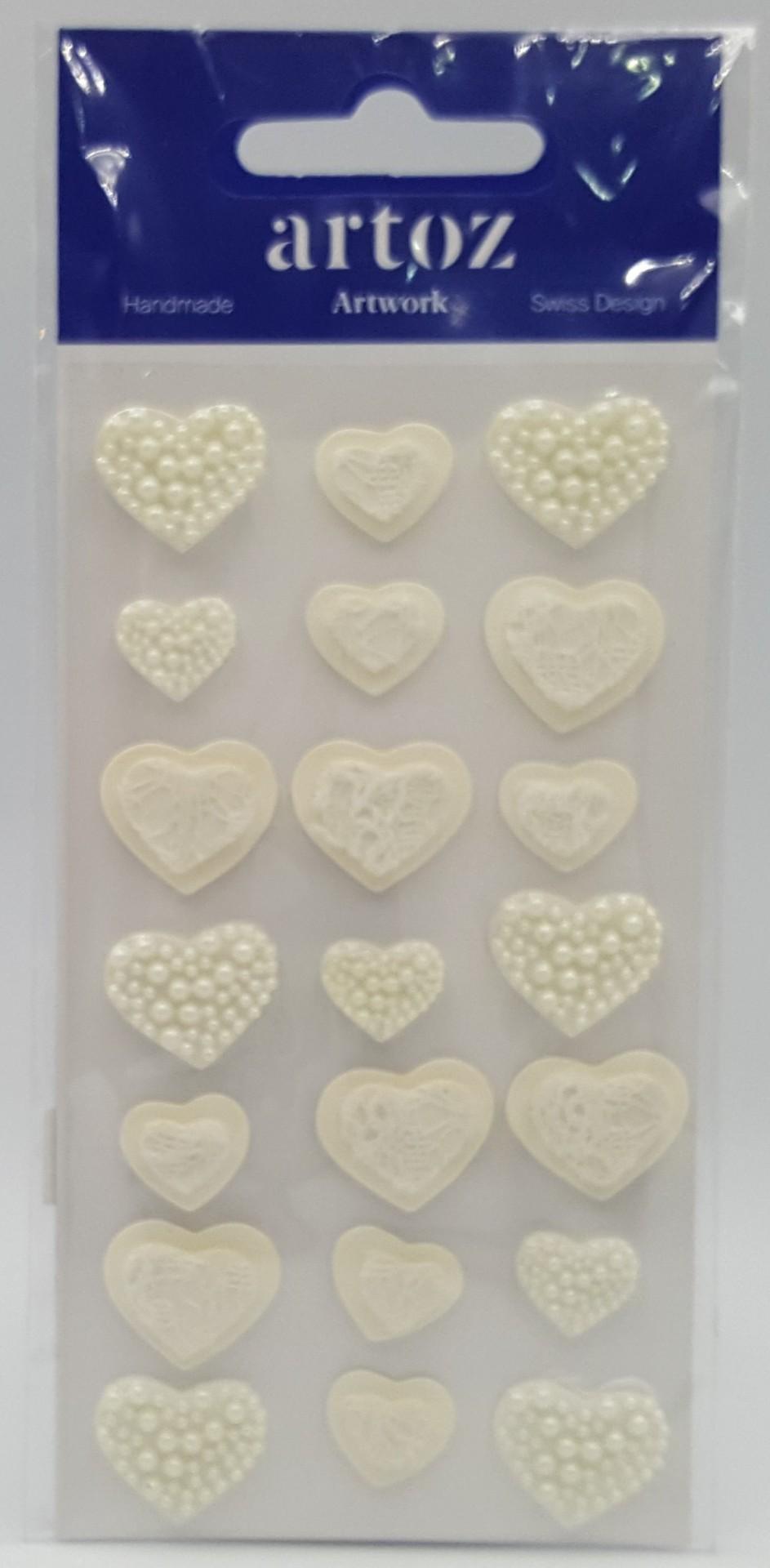 Aplicações scrapbooking - corações decorados com pérolas