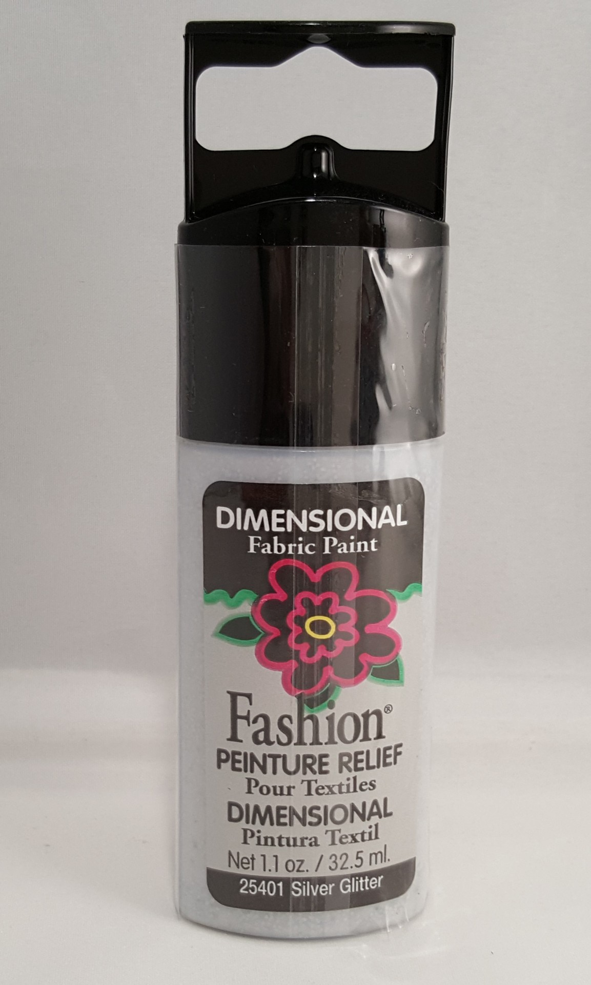 Tinta Dimensional para Tecido Fashion silver glitter