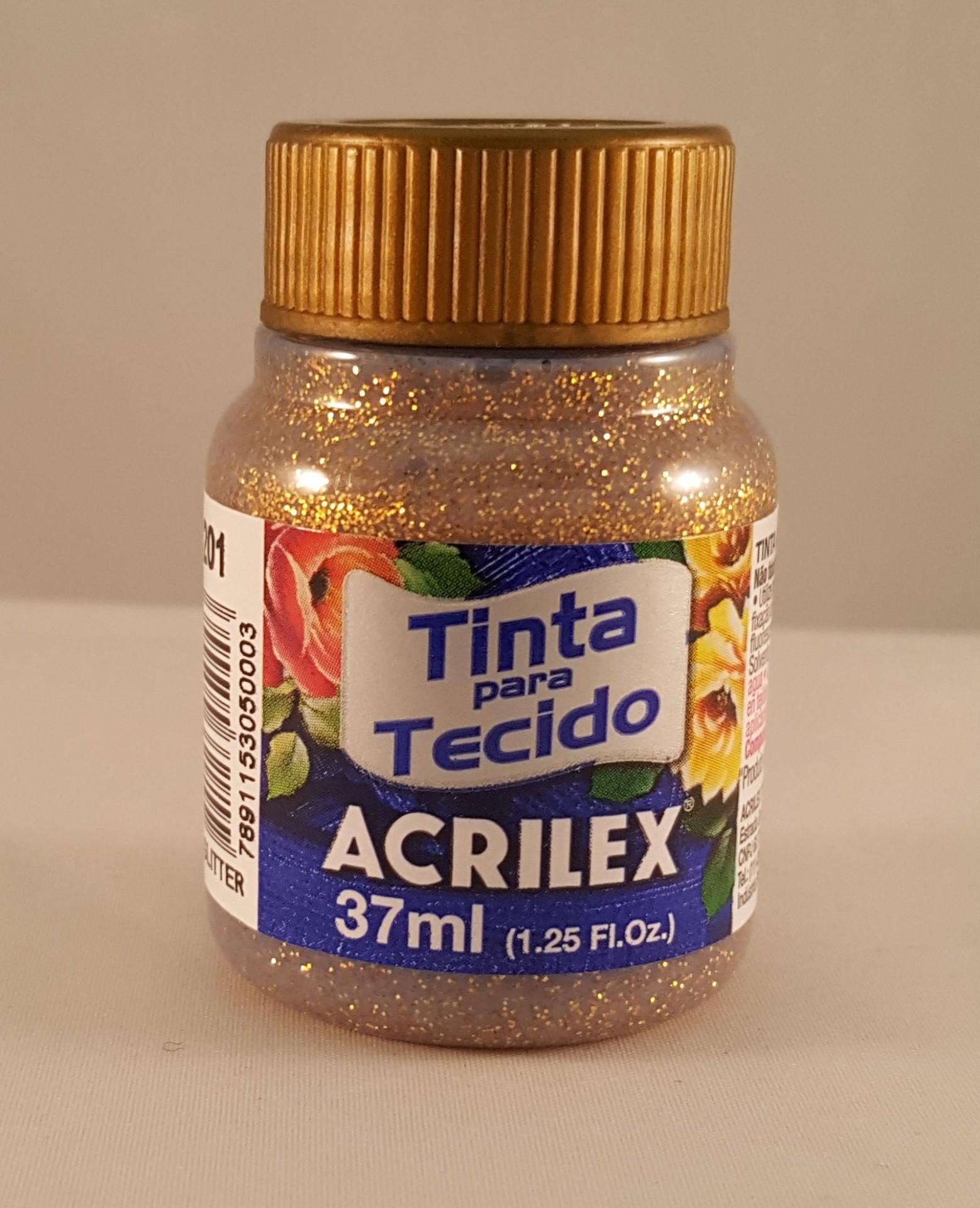 Tinta Tecido Acrilex glitter ouro 201
