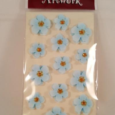 Aplicações scrapbooking - flores azuis Artoz Artwork