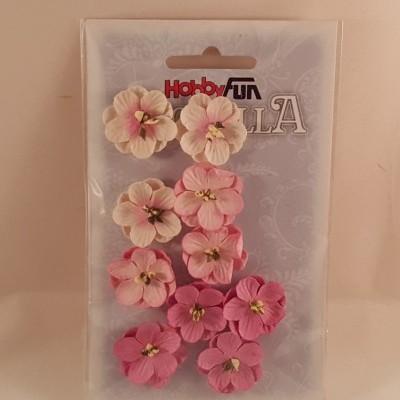 Flores de papel rosas e brancas para scrapbooking