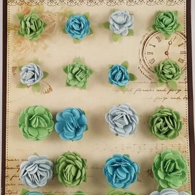 Flores de Papel para scrapbooking Little Birdie-rosas azuis e verdes