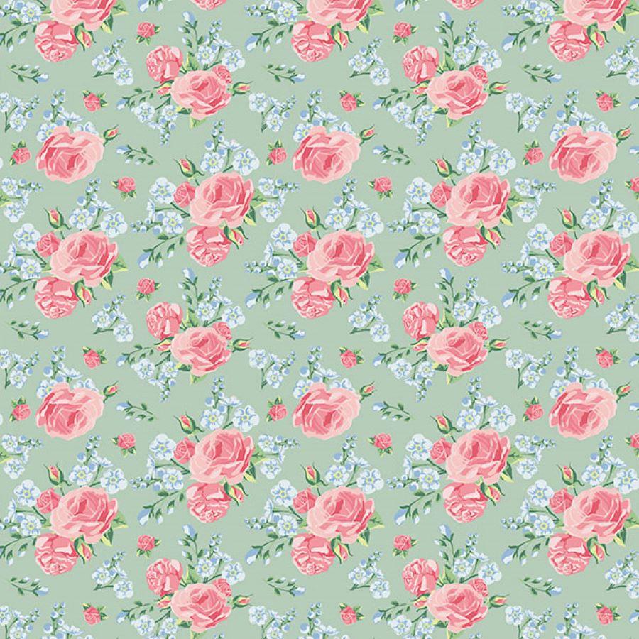 Roses   Shabby Flowers   Mint   Poppy Fabrics
