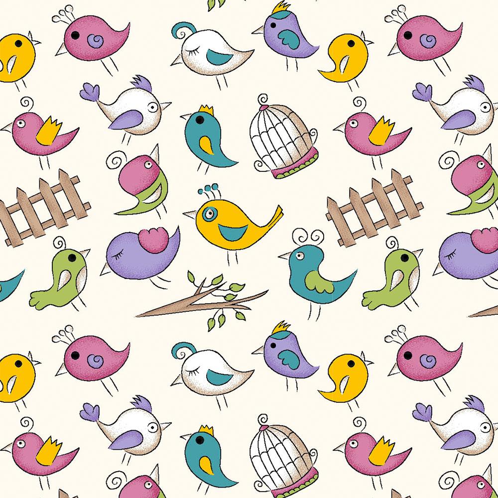 MINI BIRDS :: CREME | FOFURICES | FABRICART