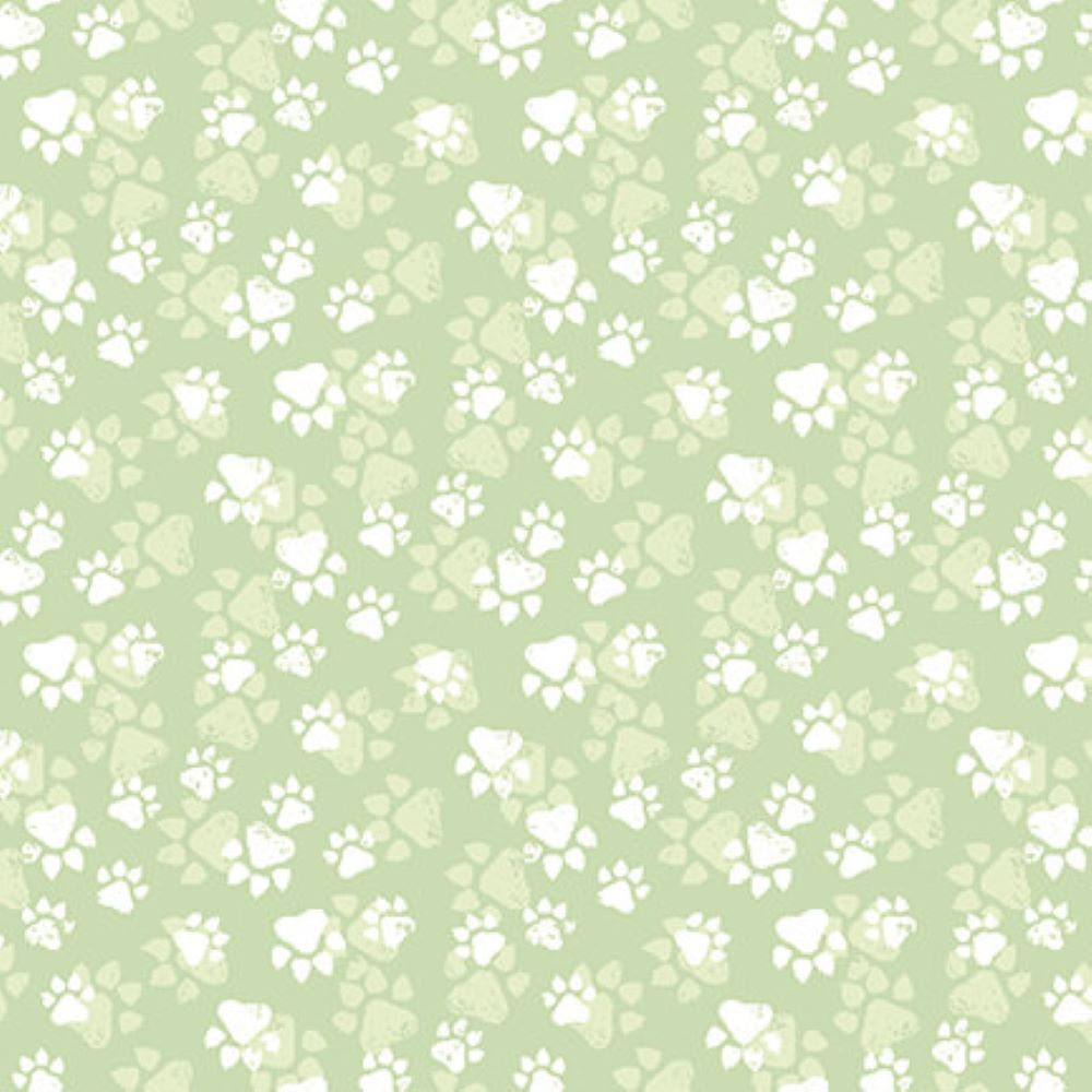 Fancy Cats   Paw Print :: Green   StudioE Fabrics