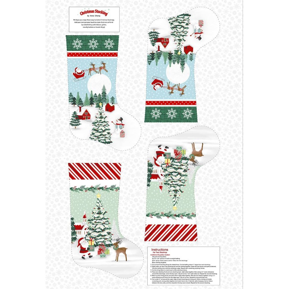Peace and Goodwill | Christmas Stocking - Green/Red | Studio e Fabrics