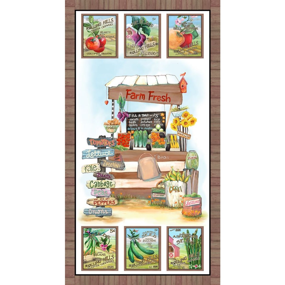 Blissful Bounty   Veggie Stand Panel - Brown   Blank Quilting