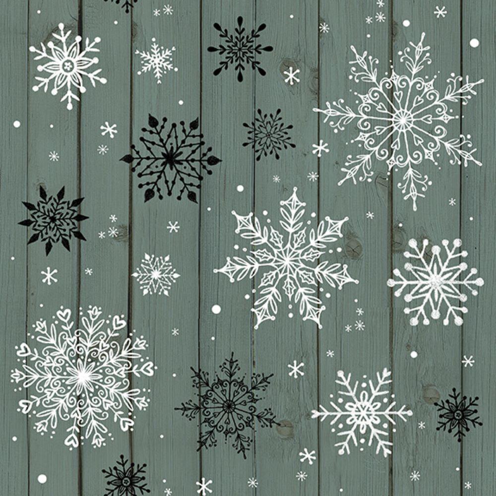 Christmas Memories   Snowflakes on Wood Grain - Teal   Studio e Fabrics