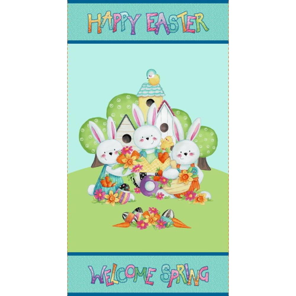 Easter Fun   Happy Easter Panel - Aqua   Henry Glass