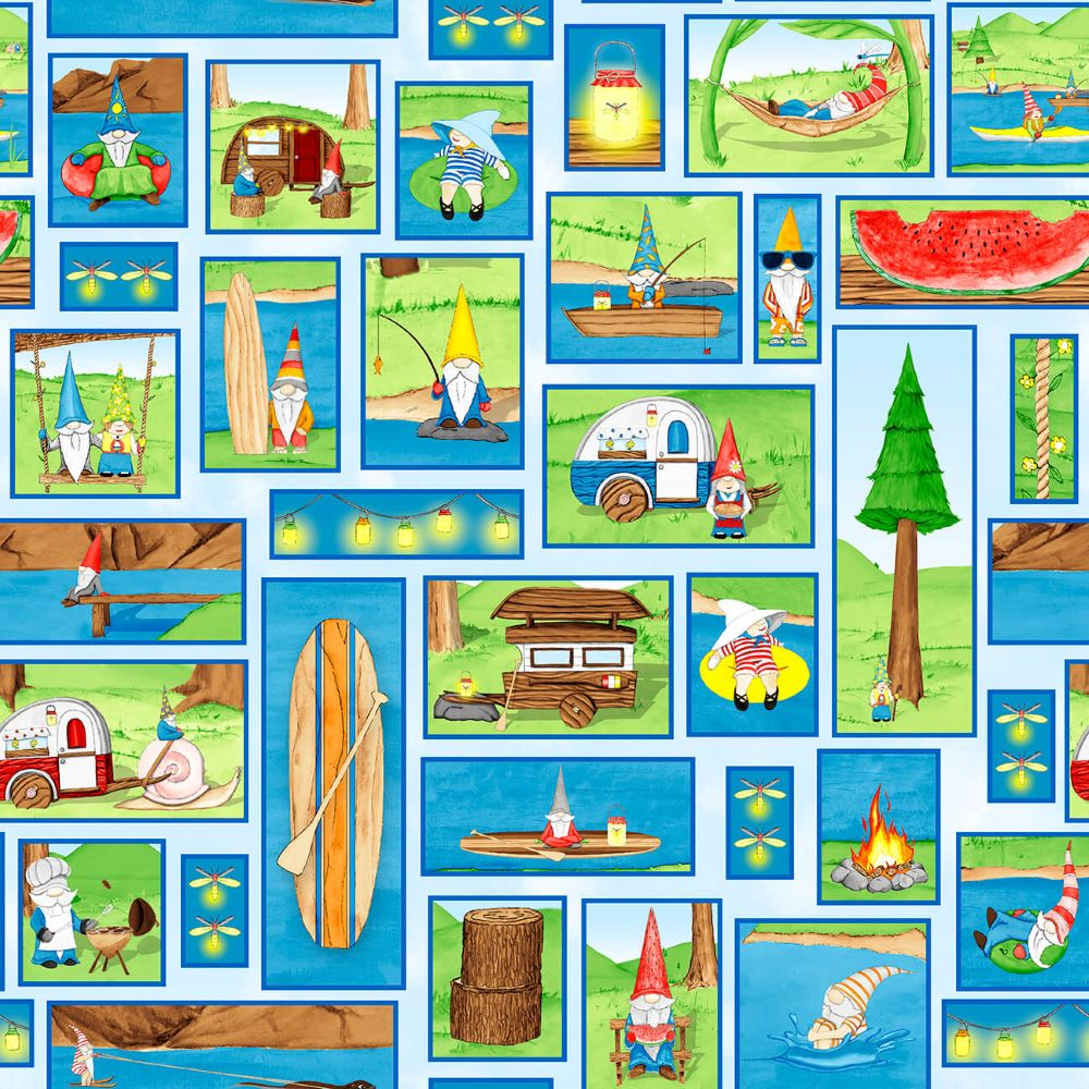 Hangin With My Gnomies | Gnome Patch - Light Blue | Blank Quilting