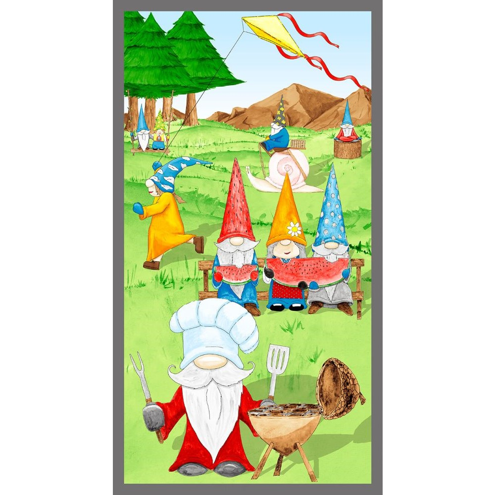 Hangin With My Gnomies   Gnome Panel - Green   Blank Quilting