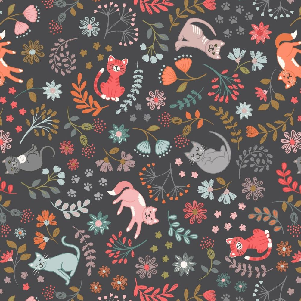 FLORAL CATS   CHARCOAL :: PURRFECT PETALS   LEWIS and IRENE