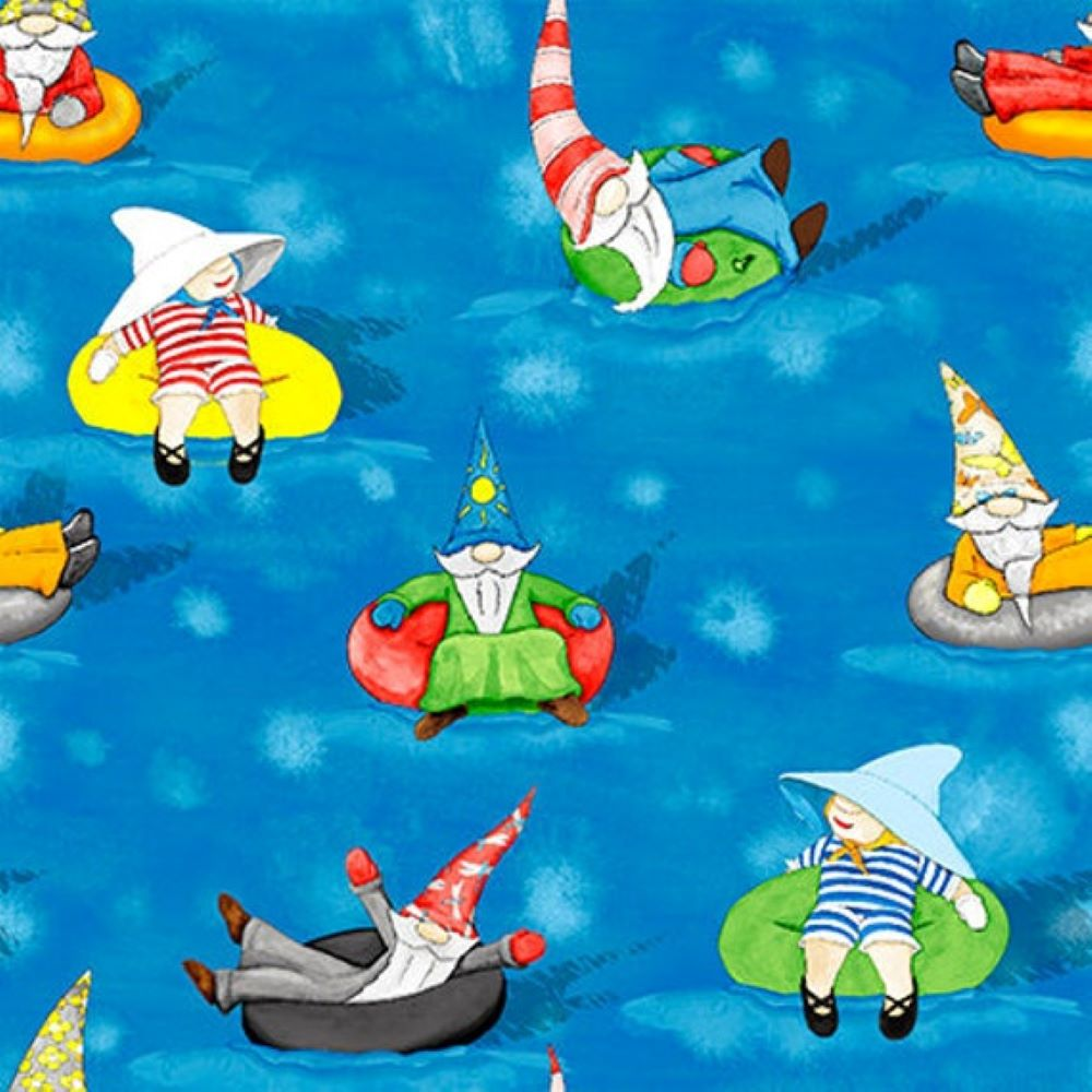 Hangin With My Gnomies | Gnomes in Waterpark - Medium Blue | Blank Quilting