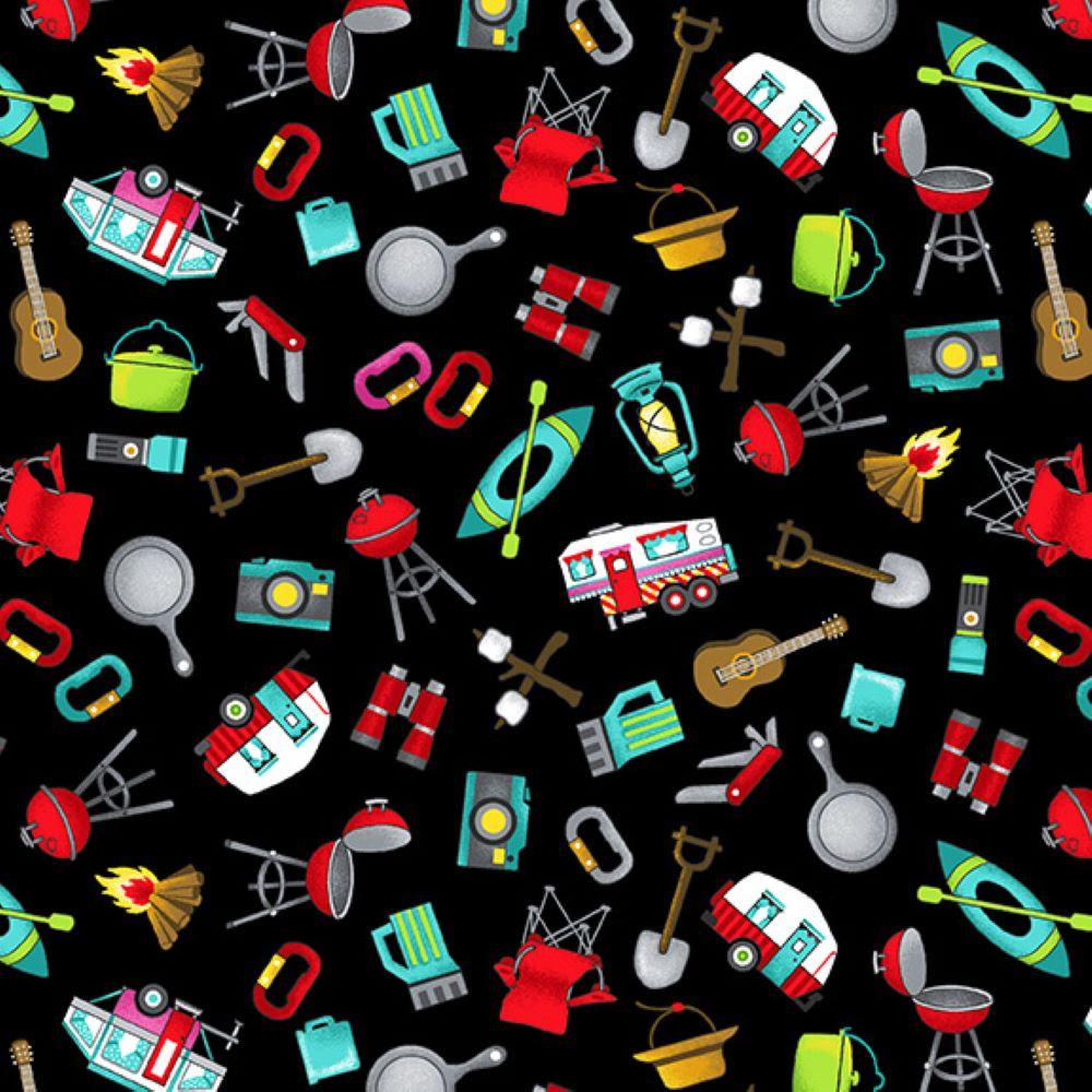Roamin' Holiday   Tossed Campsite Icons - Black   Studio e Fabrics
