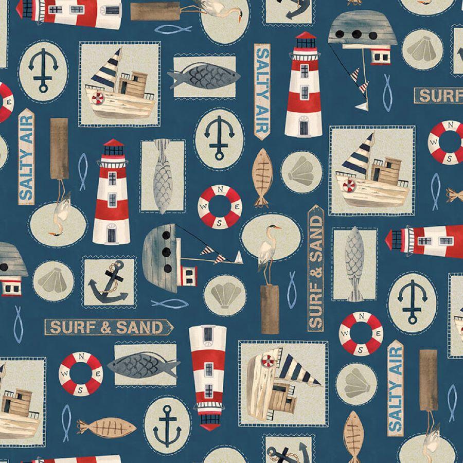 Harbor Days | Set Nautical Motifs | Navy | Blank Quilting