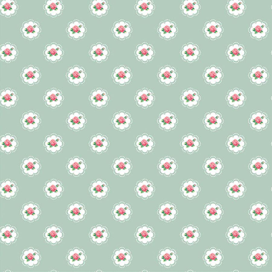 Roses | Shabby Flowers Frame | Mint | Poppy Fabrics