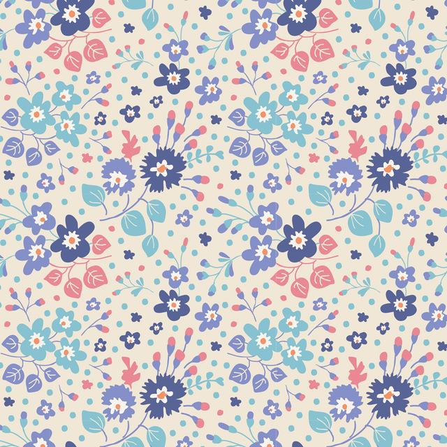 TILDA :: PLUM GARDEN   FLOWER CONFETTI   BLUE