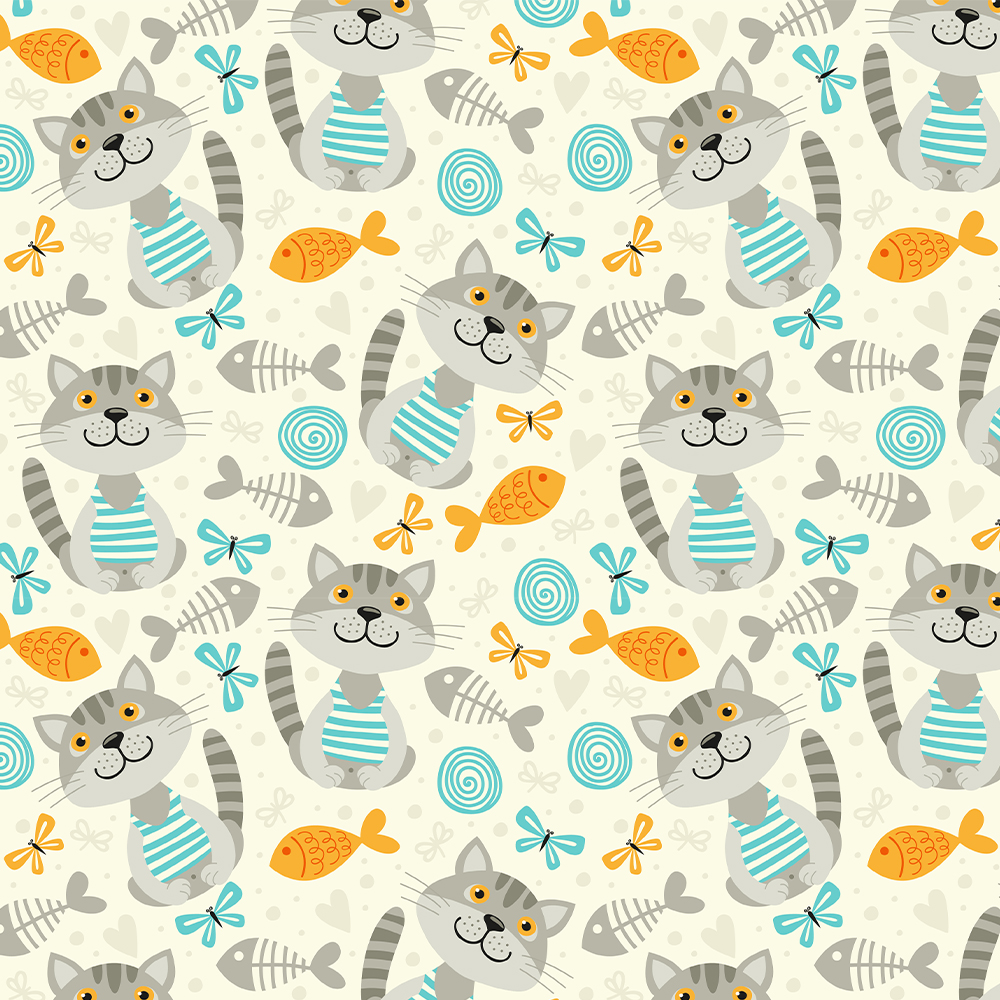 Cats and Fishes :: Cat Lovers | Fabricart