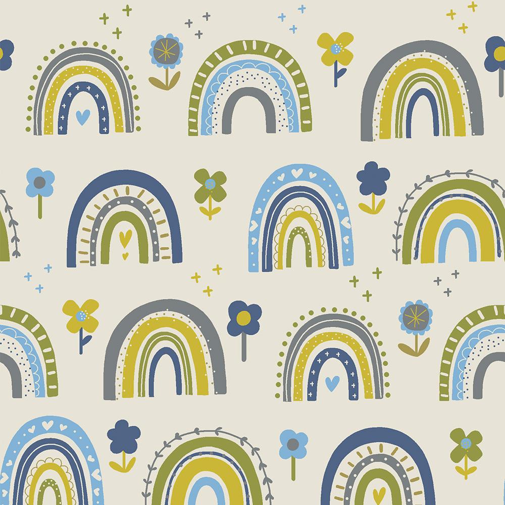 FLOWER RAINBOW :: BLUE   OVER THE RAINBOW   FABRICART