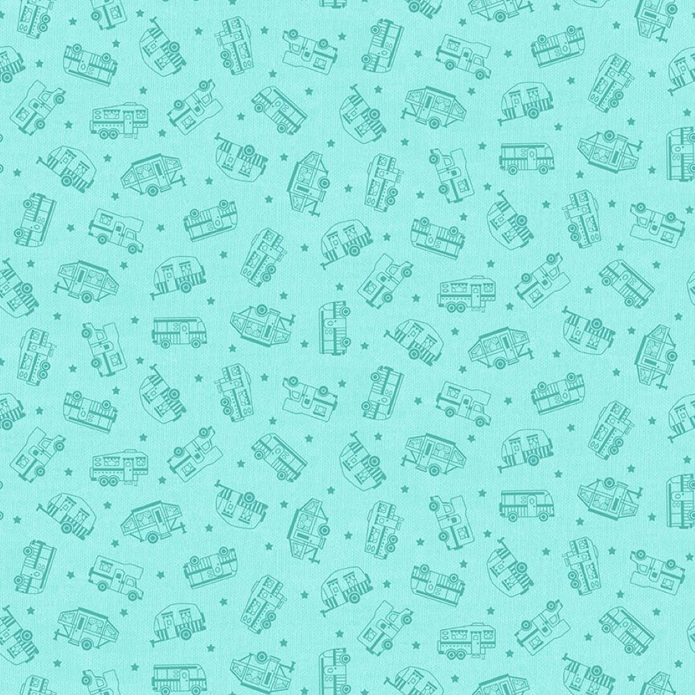 Roamin' Holiday | Tone-on-Tone Campers - Light Blue | Studio e Fabrics