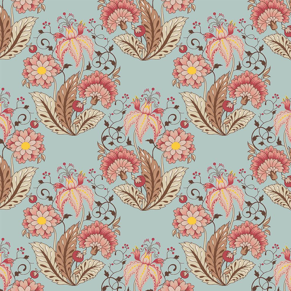 Floral Jacobean :: Acqua   Fabricart
