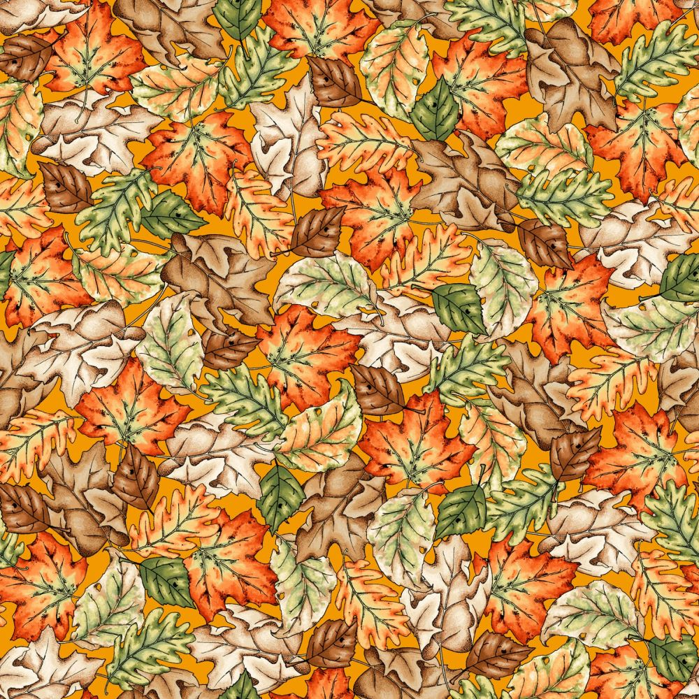 Fat Quarter | Sweater Weather | Leaves - Orange | Maywood Studio