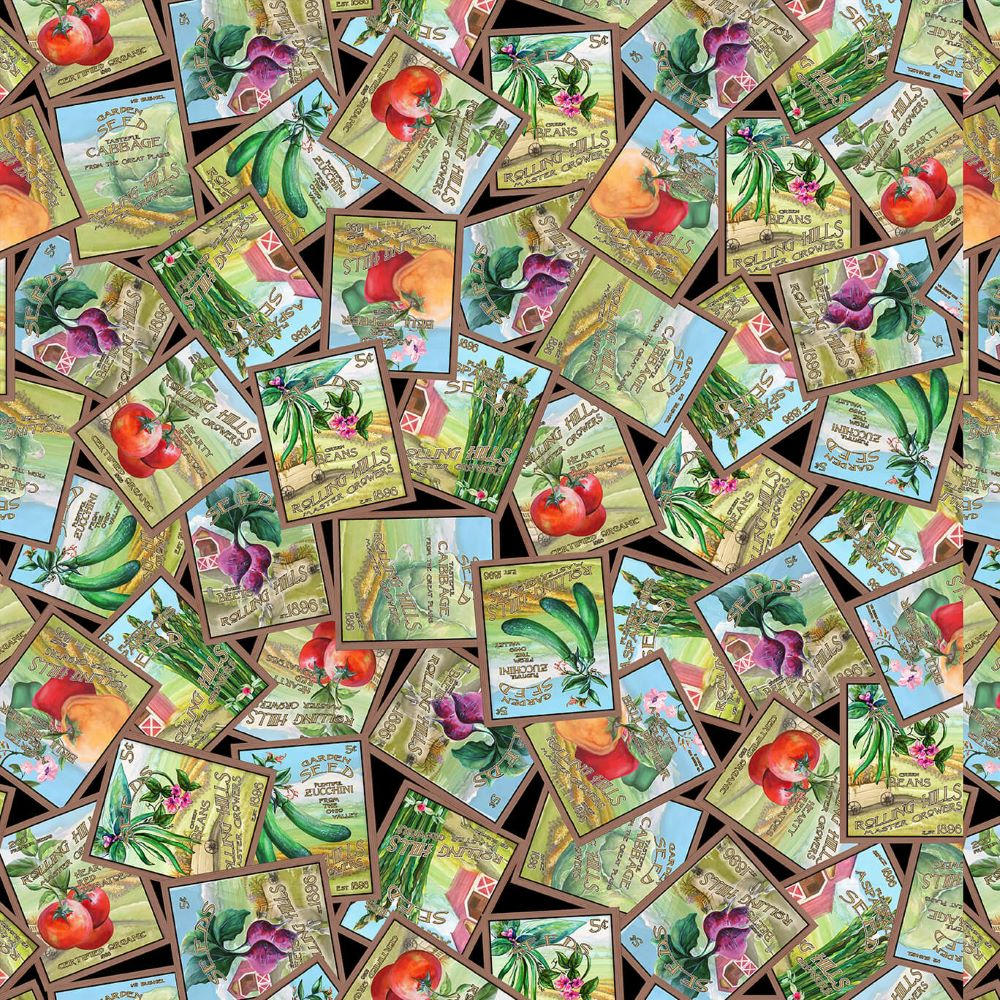 Blissful Bounty   Tossed Seed Packets - Black   Blank Quilting