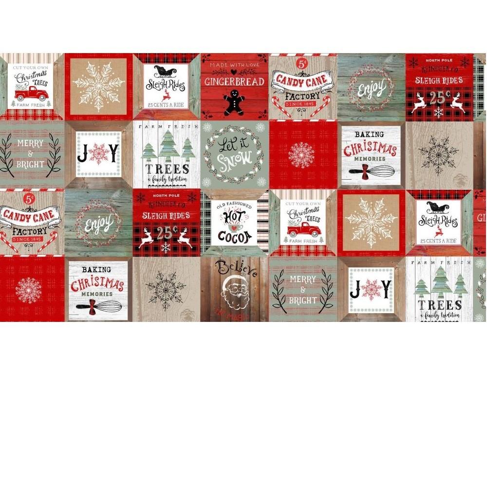 Christmas Memories   Vintage Motifs in Blocks - Multi   Studio e Fabrics