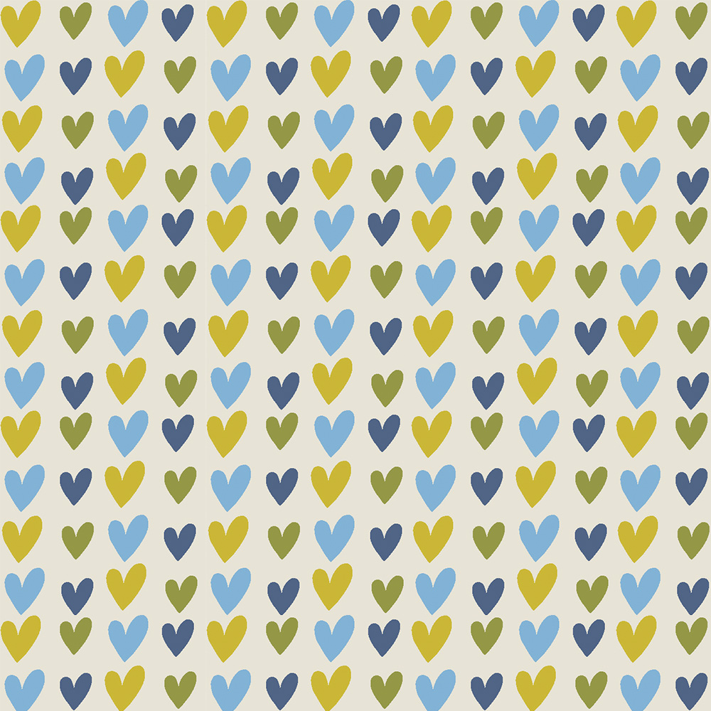 HEARTS :: BLUE | OVER THE RAINBOW | FABRICART