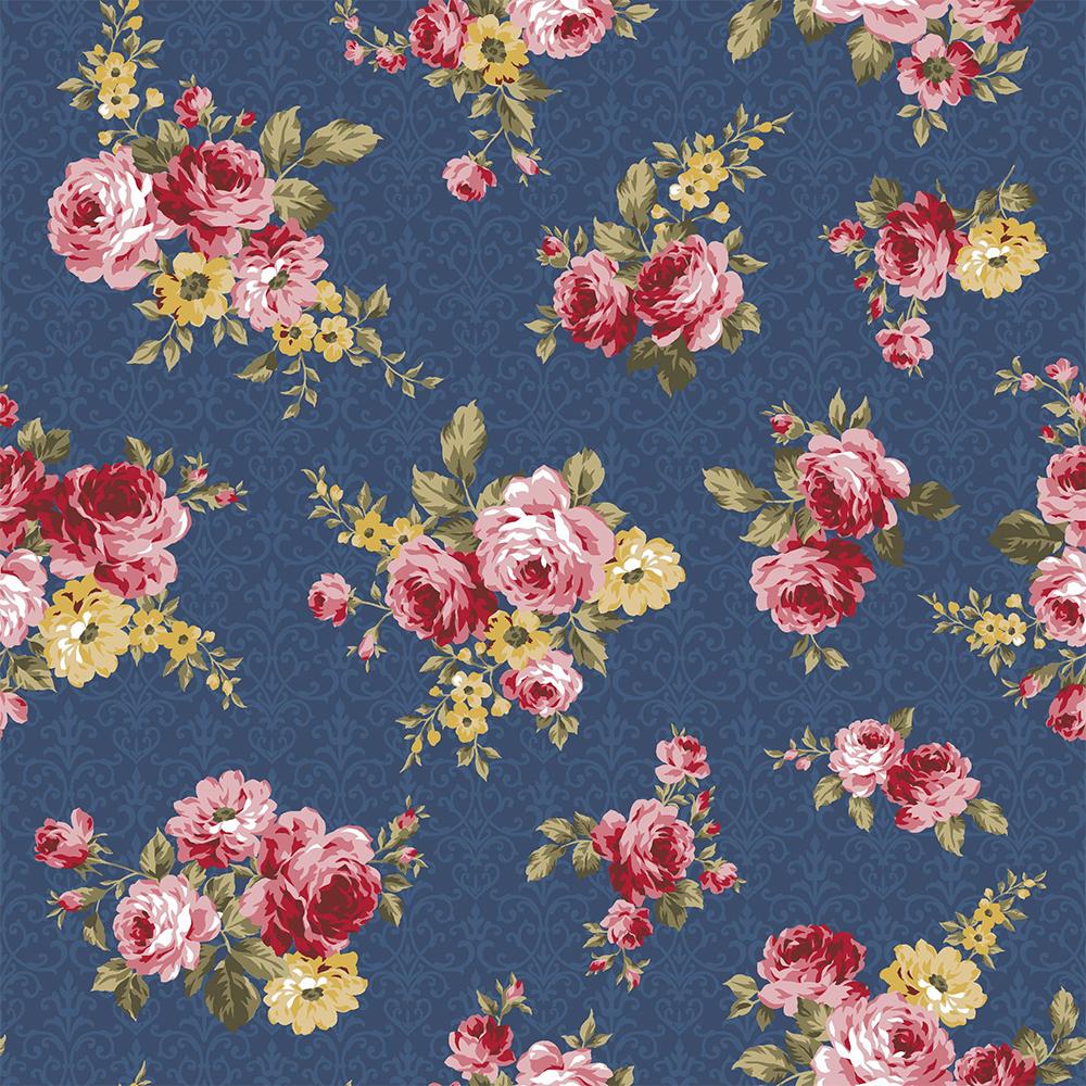 Exuberance   Floral Arabesque :: Azul Noite   Fabricart