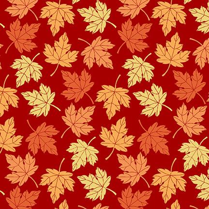 Pumpkin Spice | Tossed Leaves - Red | StudioE Fabrics