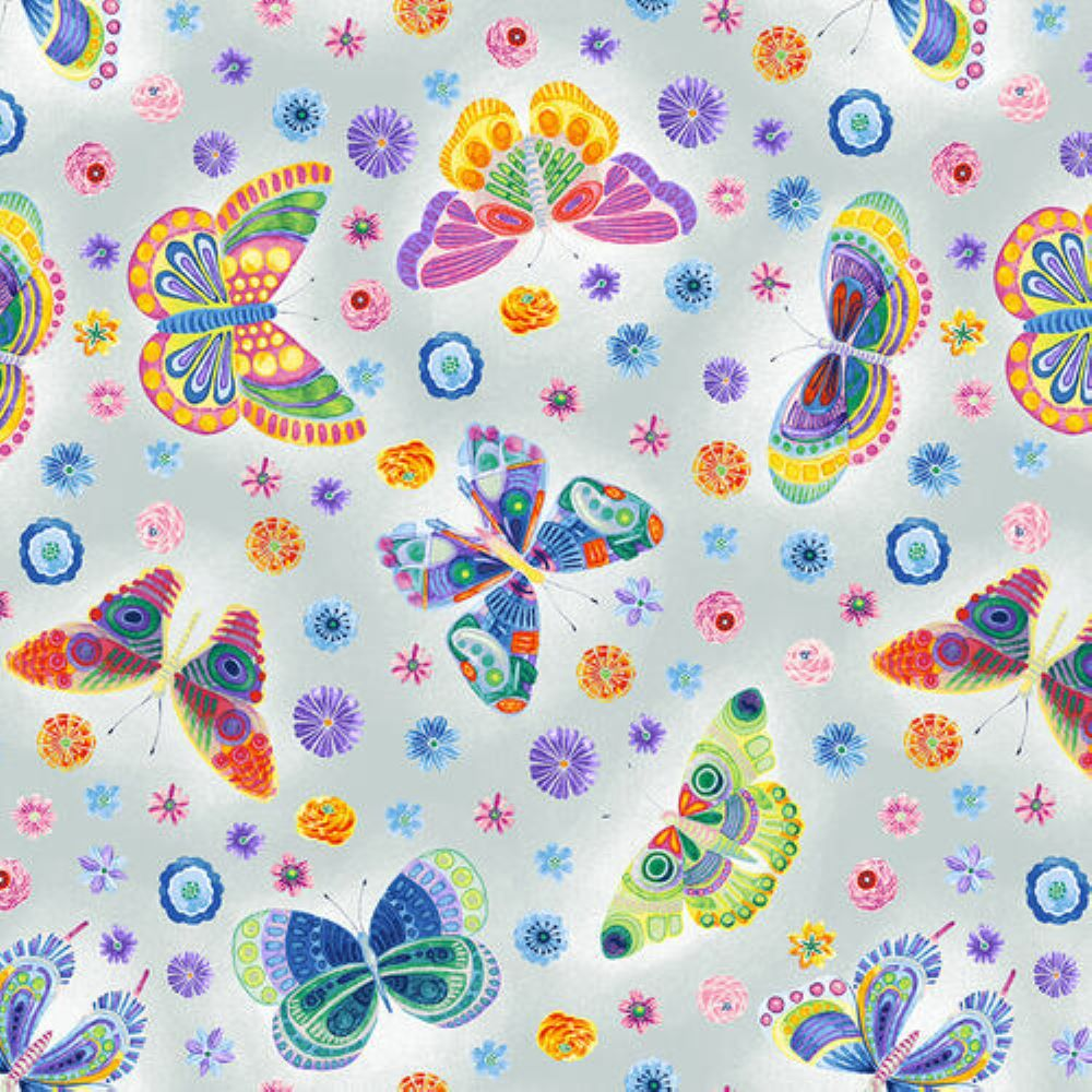 Butterfly Floral | Light Grey :: Wonderland | Blank Quilting