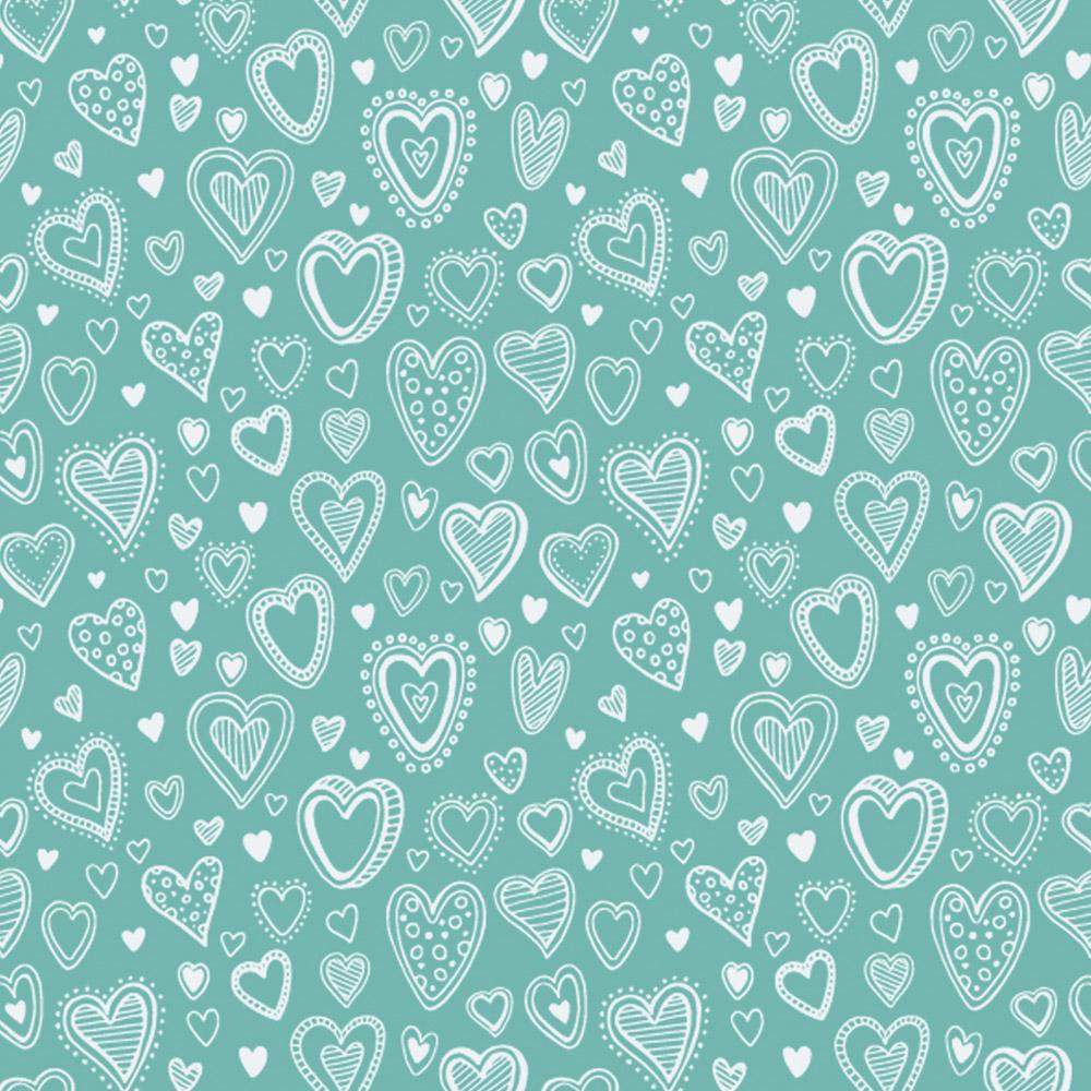 Multi Corações | Turquesa | Basics & Colors | Fabricart