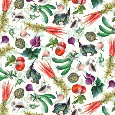 Blissful Bounty | Small Veggie Collage - White | Blank Quilting