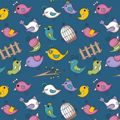 MINI BIRDS :: AZUL | FOFURICES | FABRICART