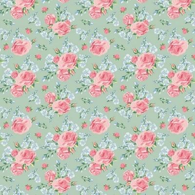 Roses | Shabby Flowers | Mint | Poppy Fabrics