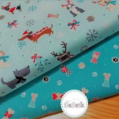 CHRISTMAS DOG BISCUITS   TEAL :: FREDDIE & FRIENDS   CRAFT COTTON COMPANY