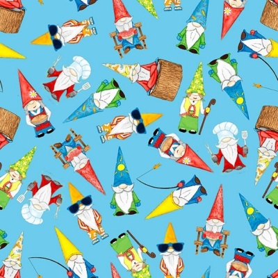 Hangin With My Gnomies | Tossed Gnomes - Light Blue | Blank Quilting