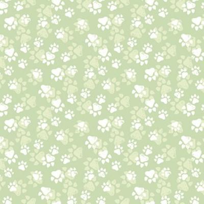Fancy Cats | Paw Print :: Green | StudioE Fabrics