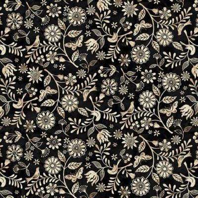 Le Poulet | Small Wildflower Allover - Black | Studio e Fabrics
