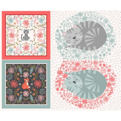 CAT CUSHIONS PANEL :: PURRFECT PETALS | LEWIS and IRENE